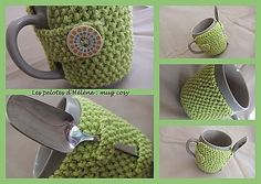 mug wrap - pattern is en francais so I can't use it, but I might try my own pattern sometime.  This around a mug would make a great gift, maybe with some tea too.
