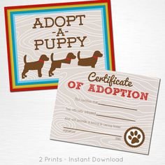 Adopt a Puppy and Certificate of Adoption Brown Red Blue Green Yellow Lab Dog…