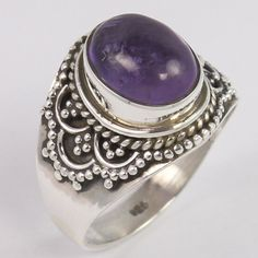 Indian Artisan 925 Sterling Silver Solid Ring Size US 5.75 Natural AMETHYST Gems #Unbranded
