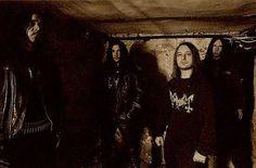 Norwegian Black metal band Mayhem. Reforming in 1997 after they split due to their guitarist being murdered by Varg Vikernes.