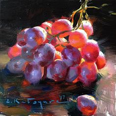 Red Globe Grapes by Elena Katsyura Oil ~ 6 in x 6 in