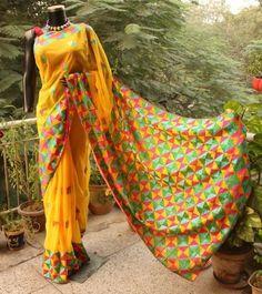 Buy Hand Embroidered Yellow Phulkari Saree