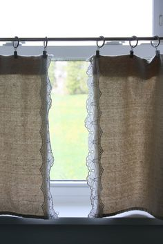 Genius. Lowe's drop cloth and lace cut from a thrifted tablecloth. Using clips to hang it makes this come together in a SNAP! http://flowerpatchfarmgirl.blogspot.com/2011/09/my-bathroom-grew-up-finally.html