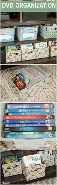 Tired of your DVDs taking up so much space on the shelf? Or not being able to find the movie you want? You won't want to miss this easy efficient method for DVD organization where you can fit all your movies into a small organized space! Movie Organization, Bookcase Organization, Small Space Organization, Household Organization, Organizing Tips, Diy Dvd Storage, Storage Ideas, Movie Storage, Bedroom Storage