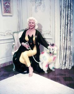 Jayne Mansfield, hostess pajamas, a beautiful Scottie AND a polka-dotted poodle?  Um, this is the greatest photo EVER TAKEN!?!