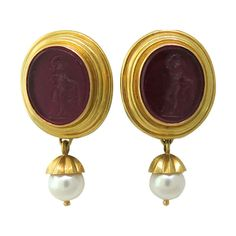 Elizabeth Locke Gold Venetian Glass Intaglio Day Night Pearl Earrings | From a unique collection of vintage drop earrings at http://www.1stdibs.com/jewelry/earrings/drop-earrings/