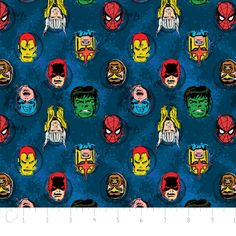 Fat Quarter Marvel Comics Characters Blue Cotton Quilting Fabric Camelot Fabric by Petestreasuretrove on Etsy