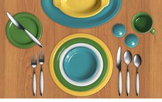 Check out my Colorama by Fiesta® customized table setting! Click to create your own. Sunflower, Shamrock, White, Turquoise.