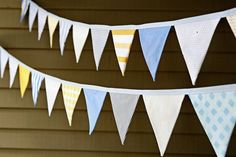 Party Bunting - Fabric Flag Banner - Pennant Flag Garland - Baby Boy - Blue Grey Yellow on Etsy, $37.56 AUD
