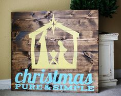 How-To make this Christmas PURE + SIMPLE Nativity - such a good reminder for the true meaning of Christmas, while also being superbly rustic and chic! Simple Nativity, Diy Nativity, Christmas Nativity, Christmas Wood, Christmas Signs, Christmas Projects, Winter Christmas, Holiday Crafts, Holiday Fun