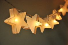 White mulberry paper Stars Lanterns for wedding party decoration (20 bulbs)