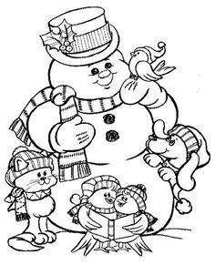 Dibujos Santa Y Monos De Nieve Para Colorear