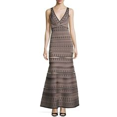 Herve Leger Sleeveless V-Neck Jacquard Gown (119,670 PHP) ❤ liked on Polyvore featuring dresses, gowns, black, v neck dress, herve leger dress, v neck evening dress, hervé léger and v neckline dress
