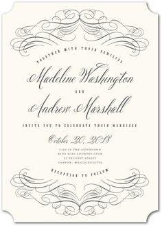 Terrific Twirls - Signature White Wedding Invitations in Charcoal or Umber | Elk Design