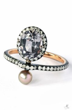 Nadia Morgenthaler Ring – spinel, pearl and diamonds