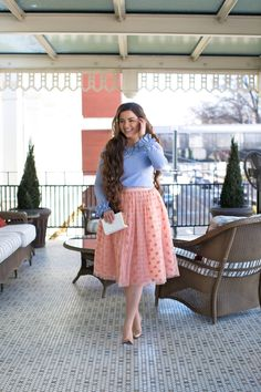 Modest chambray top with ruffle sleeves and rose pink polka dot tutu skirt. Bridesmaid dresses, ruffles, lace, and modest apparel. www.daintyjewells.com