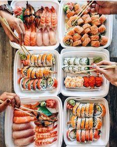 Ultimate platter of sushi Cute Food, I Love Food, Good Food, Yummy Food, Sashimi, Sushi Recipes, Healthy Recipes, Healthy Food, Rice Cake Recipes