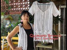 Crochet Videos, Chrochet, Video Tutorials, Short Sleeve Dresses, Bikinis, Youtube, Inspiration, Fashion, White Kimono
