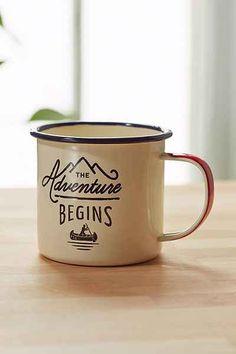 Adventure Begins Enamel Mug - Urban Outfitters  adventure, coffee...ok! #UOonCampus #UOContest