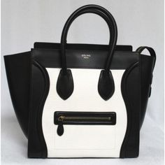 Celine Black & White Smooth Leather Mini Luggage Tote Bag, Sold Out in Stores