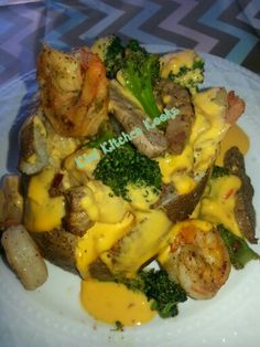 Loaded Baked Potato Shrimp Steak Broccoli