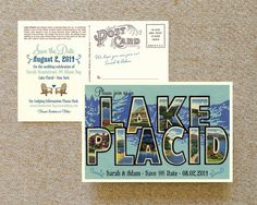 Vintage Large Letter Postcard Save the Date Lake by beyonddesign