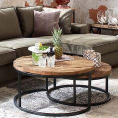 Luxe Kensington Reclaimed Wood Industrial Nest of Round Coffee Tables #vintageindustrialfurniture