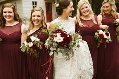 Check out these beauties rocking marsala and pink bouquets outfitted with the perfect amount of boho draping. Photo credit to Elizabeth Hoard Photography