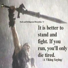 Not a fan of Vikings, but great quote!    Love this.  I'm tired of tired.  So I might as well stand and fight.