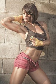 """STRENGTH & FEMININITY of tattooed #Fitness model Massiel """"Manokofit"""" Arias : if you LOVE Health, Inspirational Physiques & Fitspo - you'll LOVE the #Motivational designs at CageCult Fashion: http://cagecult.com/mma"""
