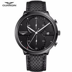 GUANQIN Mens Business Watches Top Brand Luxury Waterproof Chronograph Watch Man Leather Sport Quartz Wrist Watch Men Clock Male