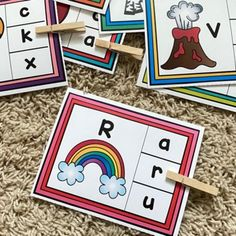 Alphabet Clip Cards by TheHappyTeacher | Teachers Pay Teachers Literacy Activities, Math Games, Uppercase And Lowercase Letters, Beginning Sounds, Letter Recognition, Preschool Kindergarten, Activity Centers, Teacher Newsletter, Lower Case Letters