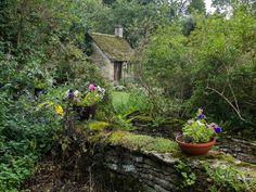 "wanderthewood: "" Back garden of Arlington Row cottage, Bibury, Gloucestershire…"