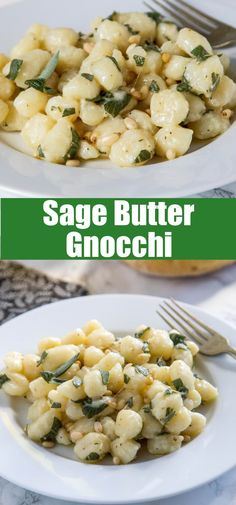 mesan Gnocchi with Sage Butter- comfort food that is on the table in 15 minutes. Soft gnocchi tossed with melted butter, sage, and Parmesan cheese!