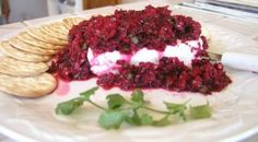 Cranberry salsa with cream cheese.  LOVE this stuff and make it every year. We even freeze cranberries, so we can make this anytime we want it.  Yummmm