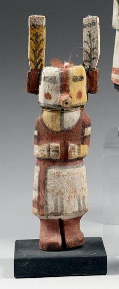 Superbe Kachina aux oreilles peintes de plants de mais Hopi, Arizona,
