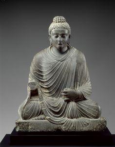 PAKISTAN Indian, Gandhara, Peshawar District, Near Mardan (present-day Pakistan) (Indian , 2nd-3rd century)  Seated Buddha  2nd - 3rd century  Dark gray schist