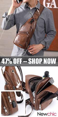8ecd5f91c529 Large Size USB Charging Port Chest Bag  Sling Bag  Crossbody Bag For Men