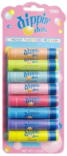 Dippin Dots 8 Pieces Flavored Lip Balm Set, (Cotton Candy, Rasberry Sherbert, Watermelon Ice, Lemon Lime Sherbet, Banana Split , Bubble Gum, Peach, Mint Chocalate) Dippin' Dots http://www.amazon.com/dp/B0094B0HRW/ref=cm_sw_r_pi_dp_rKgjvb0QQ7H4P