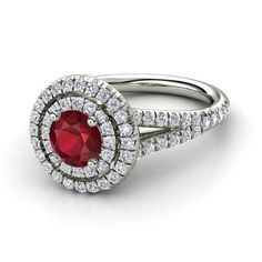 Round Ruby 14K White Gold Ring with Diamond - lay_down http://paradiseinternetmall.net/