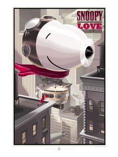 Laurent Durieux, Snoopy Love, Durieux, Sérigraphies, Graphismes, Illustrations, Retro-Futurisme, Science-Fiction, Fantastique, Fantasy, Cinéma, Affiches de cinéma, Copyright Laurent Durieux