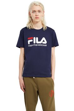 Gosha Rubchinskiy, FILA T-Shirt A collaboration piece between Italian sports brand FILA and Gosha Rubchinskiy, this classic-fit sweatshirt features embroidered logo print across the front., Crewneck, Ribbed collar, cuffs, and hem, 80% cotton, 20% polyester, Imported this classic-fit T-shirt features embroidered logo print across the front., Crewneck, Ribbed collar, cuffs, and hem, 80% cotton, 20% polyester, Imported