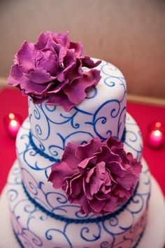 blue pink purple wedding cake - Google Search
