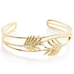 Shop Technibond® Leaf-Design 2-Tone CZ Accent Cuff Bracelet, read customer reviews and more at HSN.com.
