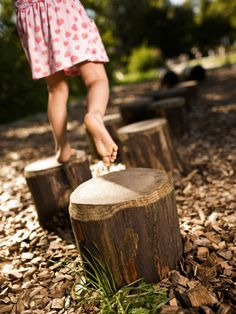 Wooden Logs Used for Obstacle Course in Play Space