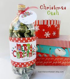 It's Written on the Wall: Christmas Cash Gift Idea - Fill a Soda Bottle with CASH - Unique Package! TUTORIAL