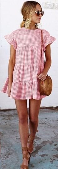 Women's Pink Plaid Flare Sleeve Loose Summer Dress #fashion #womensfashion #womenswear #pink #pinkplaid #pinkdress #womensdress #minidress #summerdress