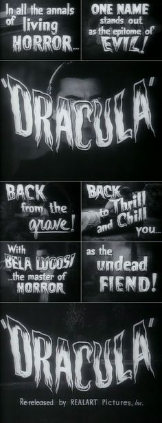 Dracula (1931) trailer typography – the Movie title stills collection #horror #movies #horrormovies