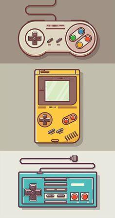 Game Boy and Nintendo Art - drawing - Game Art Game Boy, Graphic Design Trends, Retro Design, Web Design, Flat Design, Japan Design, Game Theory, Gaming Wallpapers, Video Game Art