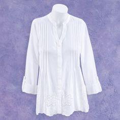 Pintucks and Cutout Flowers Shirt - Casual & Comfortable